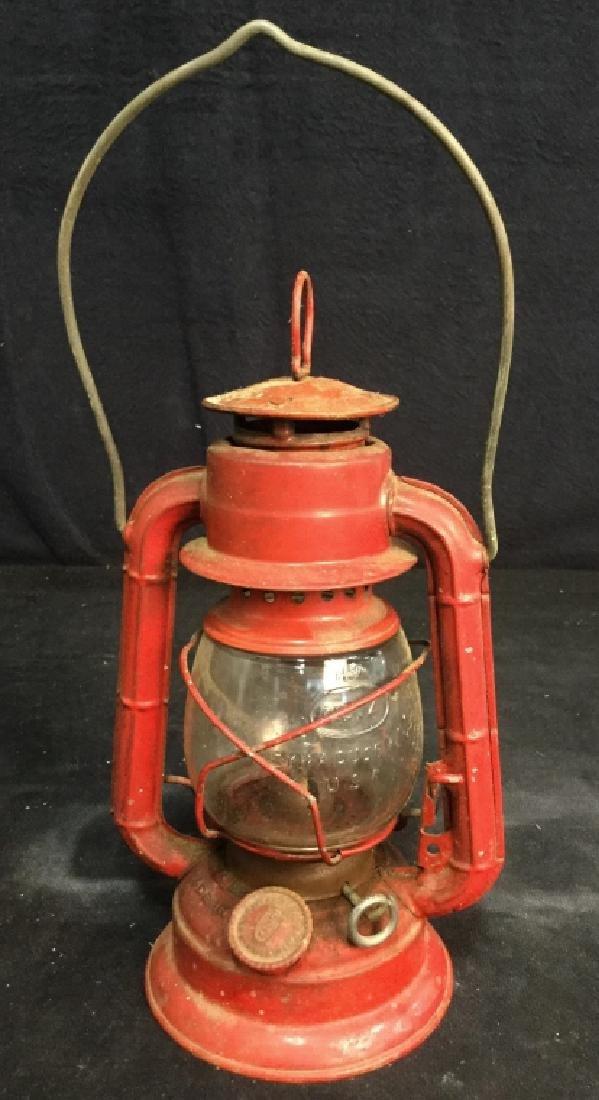 Vintage Dietz Red Metal And Glass Lantern