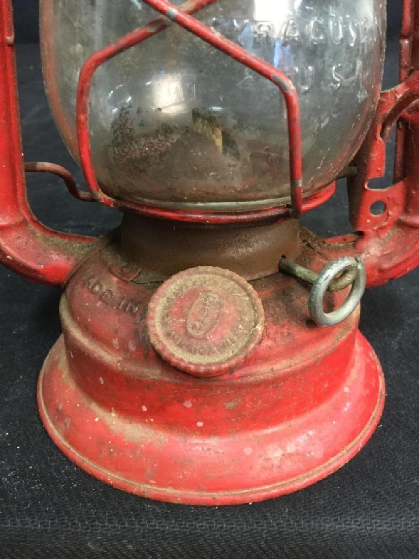 Vintage Dietz Red Metal And Glass Lantern - 3