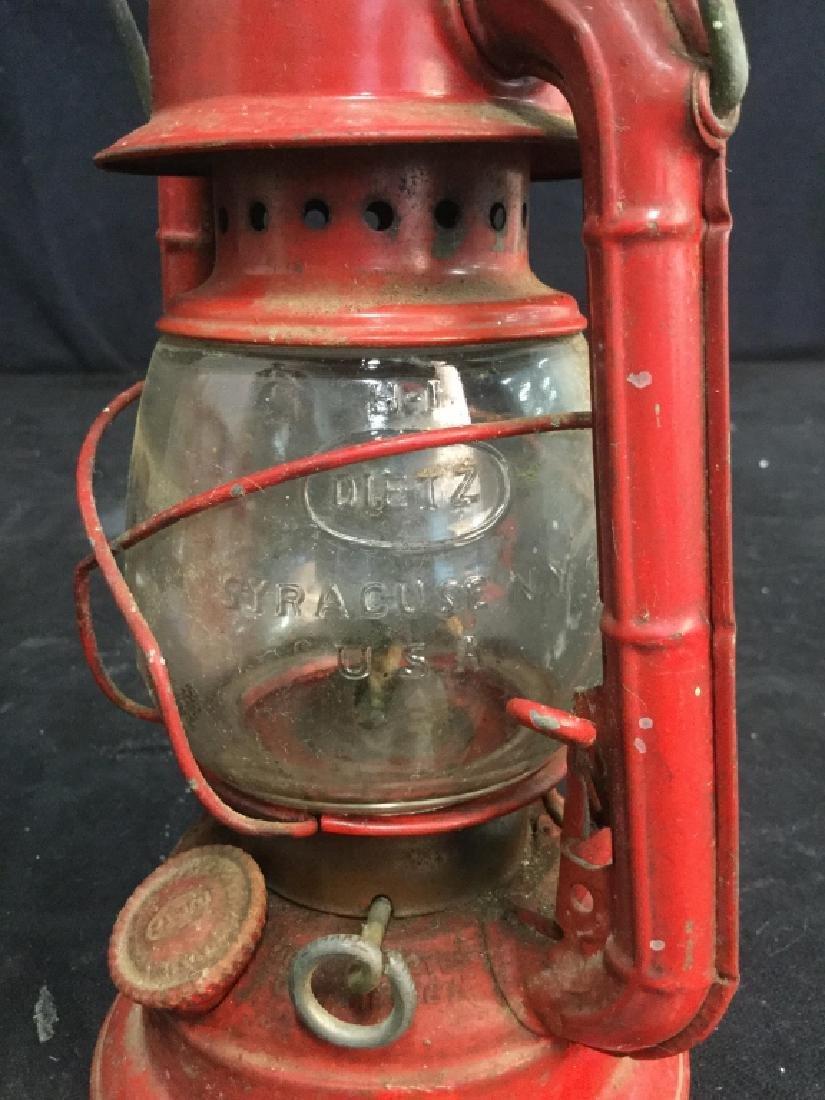 Vintage Dietz Red Metal And Glass Lantern - 4