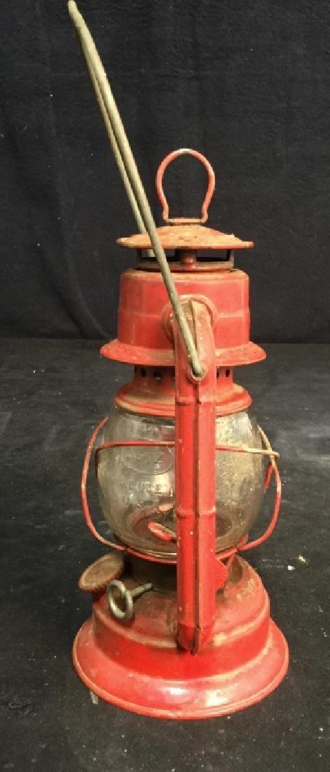 Vintage Dietz Red Metal And Glass Lantern - 5