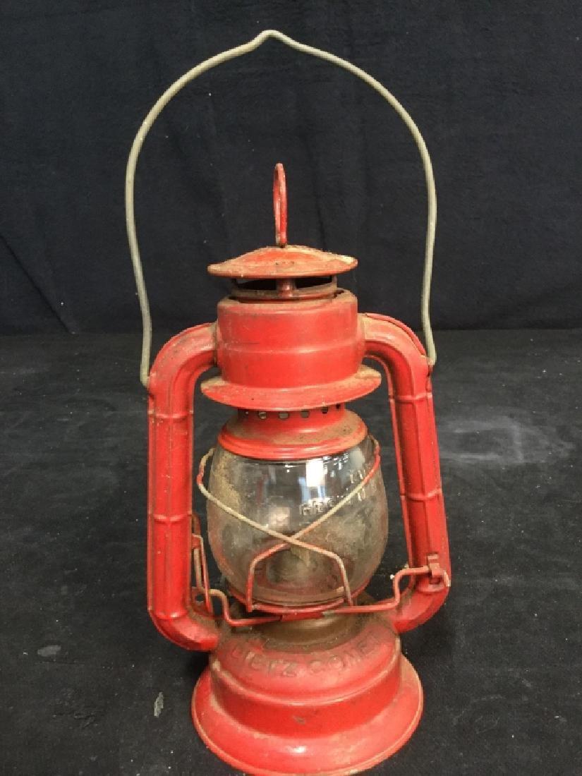 Vintage Dietz Red Metal And Glass Lantern - 6