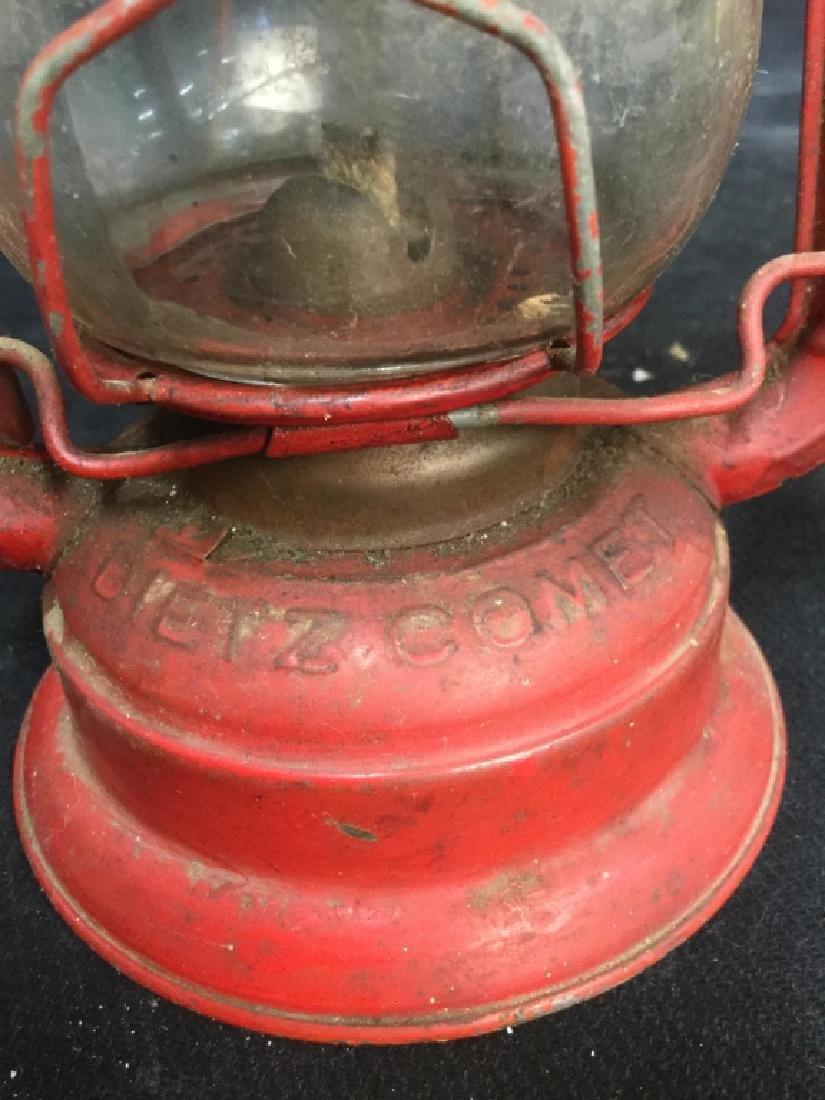 Vintage Dietz Red Metal And Glass Lantern - 7