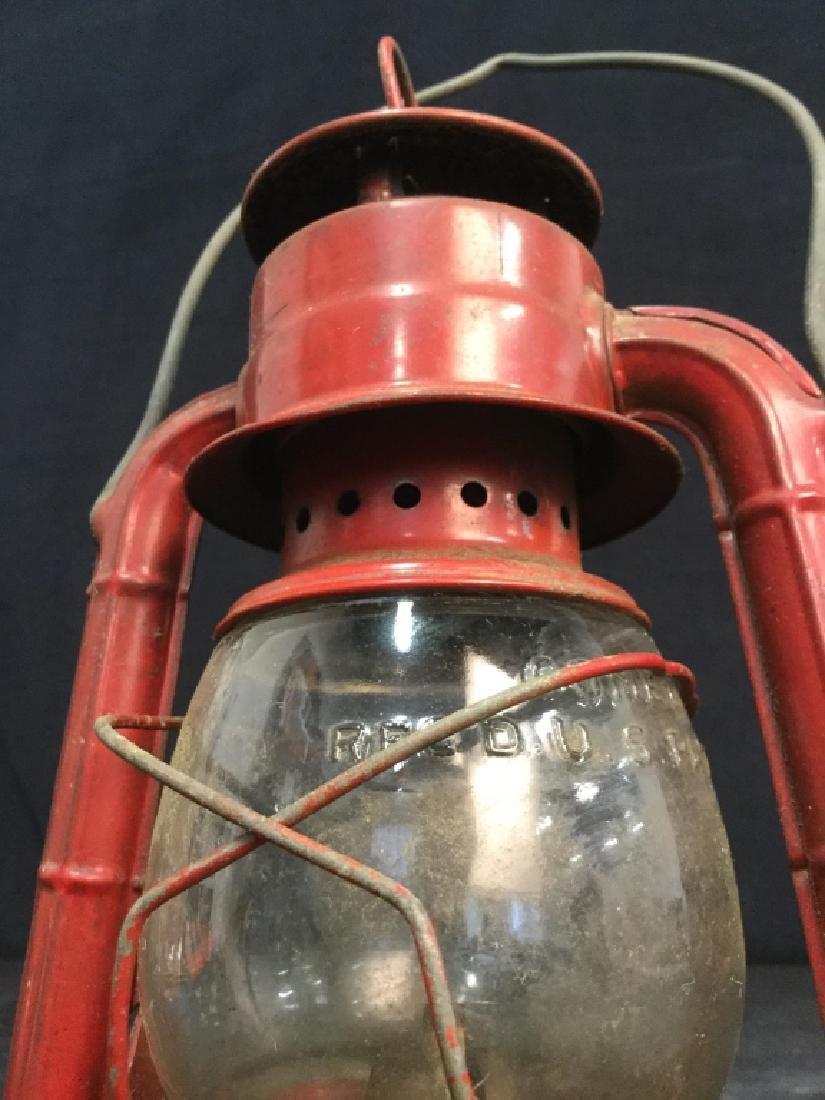Vintage Dietz Red Metal And Glass Lantern - 9
