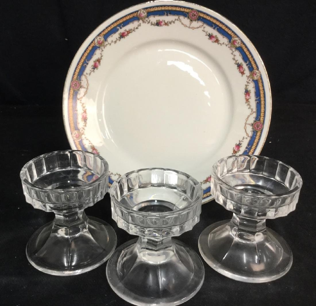 Lot 4 Plate and Glass Candlesticks