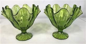 Pair Vintage Green Furled Pedestal Art Glass Vases