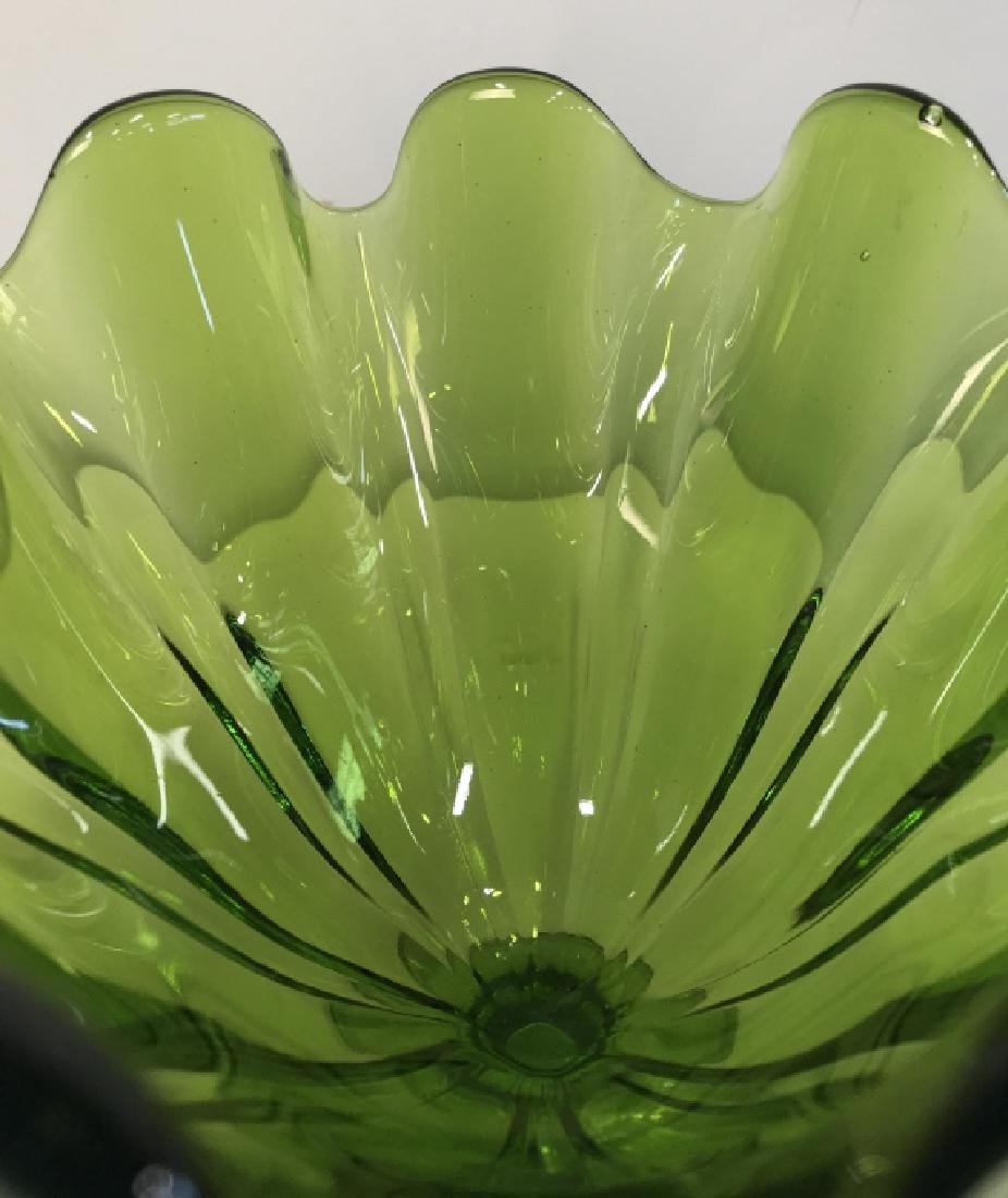 Pair Vintage Green Furled Pedestal Art Glass Vases - 5