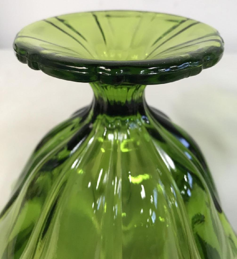 Pair Vintage Green Furled Pedestal Art Glass Vases - 7