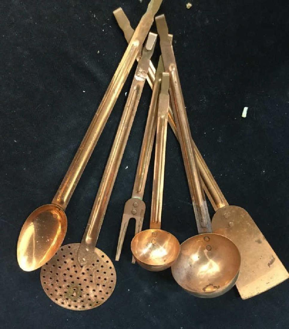 Group vintage Copper tone Kitchen Utensils - 10