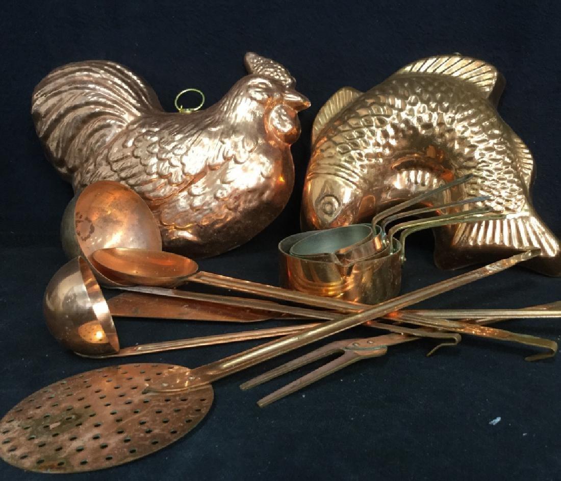 Group vintage Copper tone Kitchen Utensils