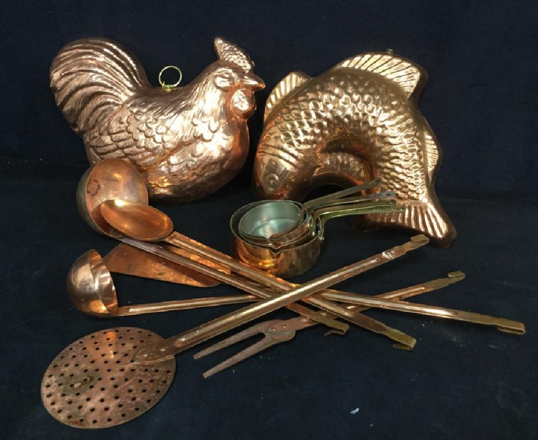Group vintage Copper tone Kitchen Utensils - 2