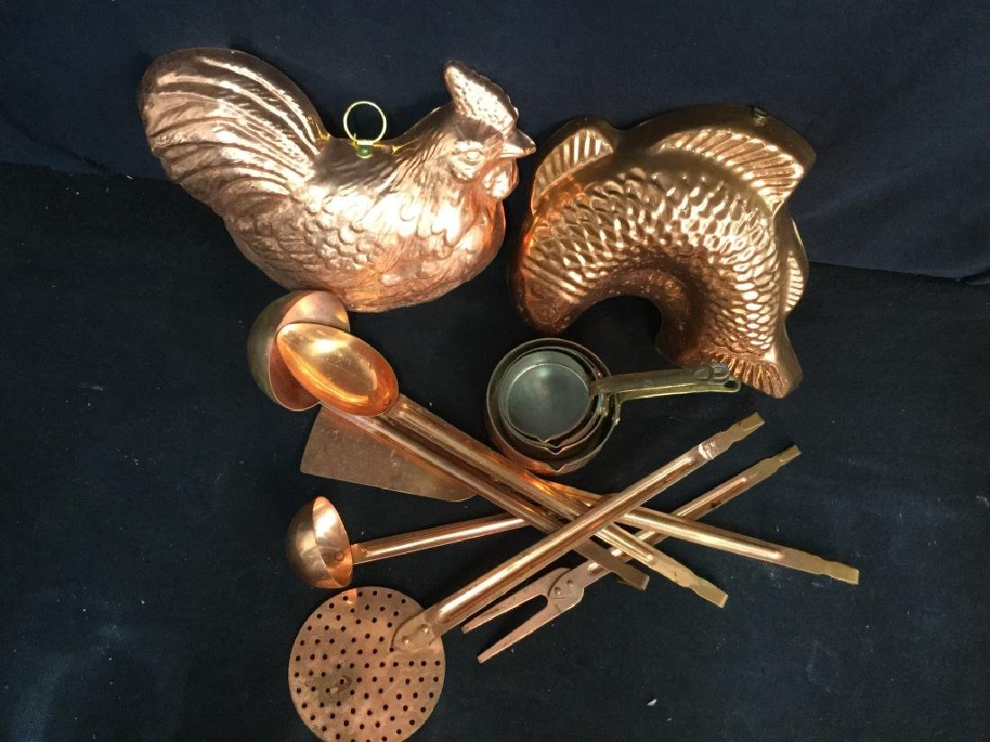 Group vintage Copper tone Kitchen Utensils - 3
