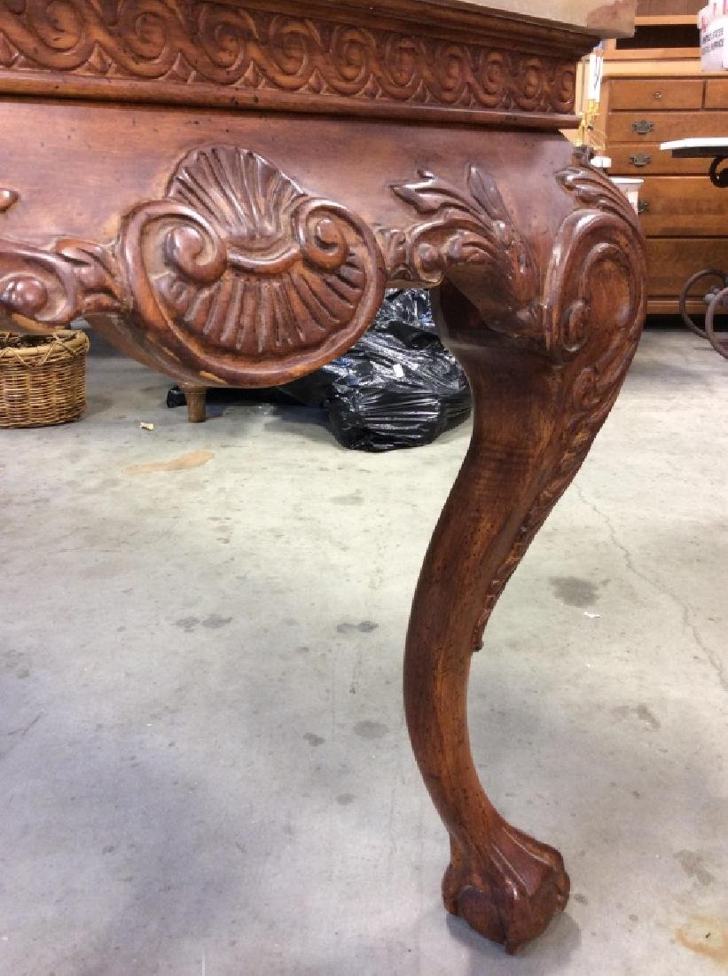 Brown Wooden Table W Cabriole Legs And Claw Feet - 6