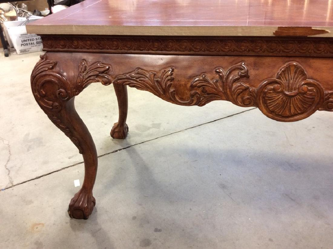 Brown Wooden Table W Cabriole Legs And Claw Feet - 9