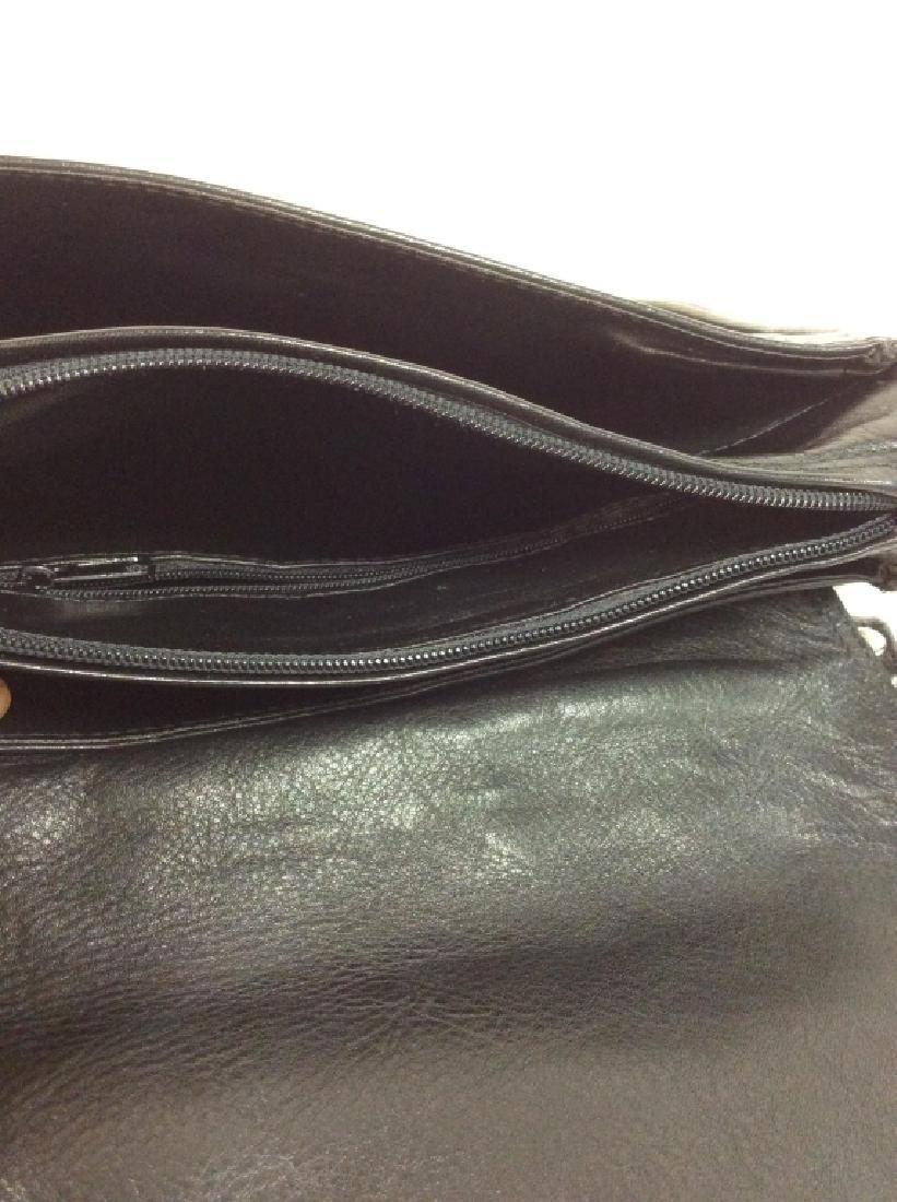 Black Toned Faux Leather Purse - 7