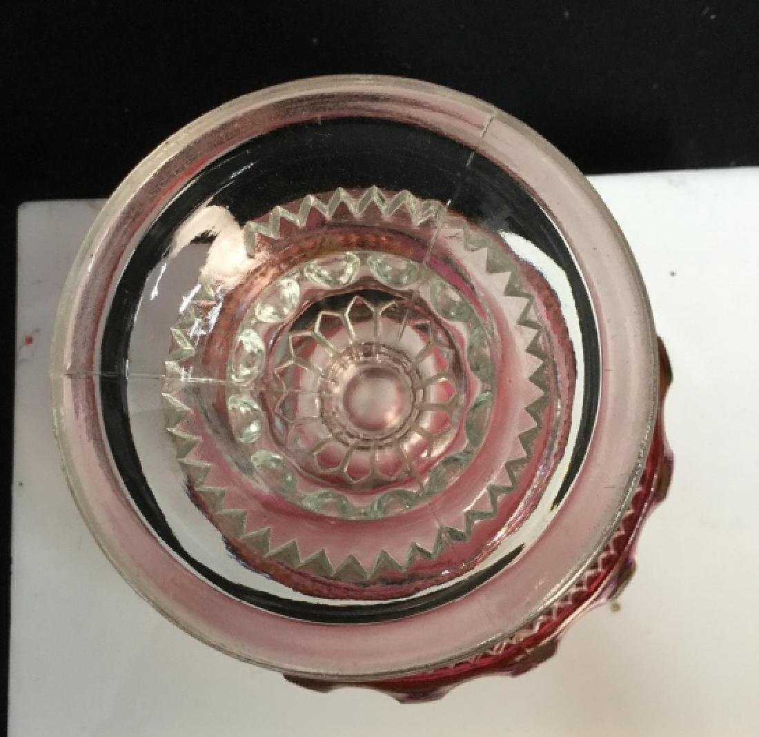 Bohemian Cranberry Clear Glass Candy Dish - 6