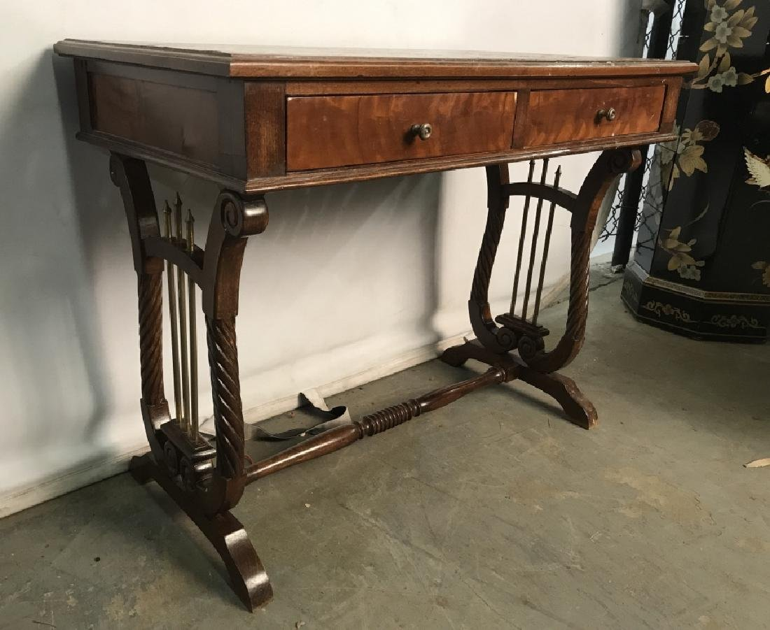 Low Standing Vintage Wood Child's Writing Desk - 3