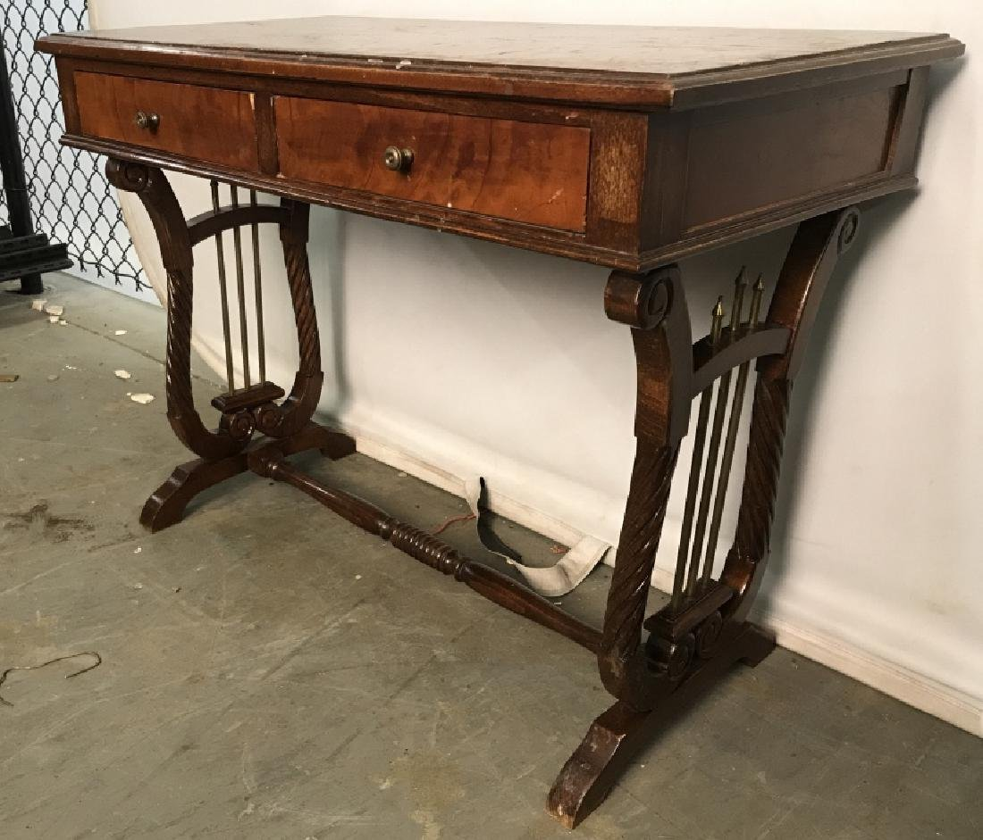 Low Standing Vintage Wood Child's Writing Desk - 4