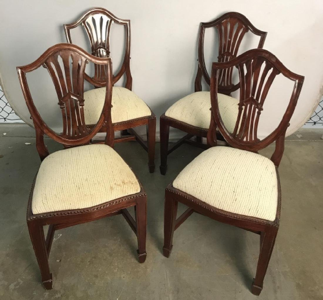 Set 4 Vintage Dining Chairs Hepplewhite Shield