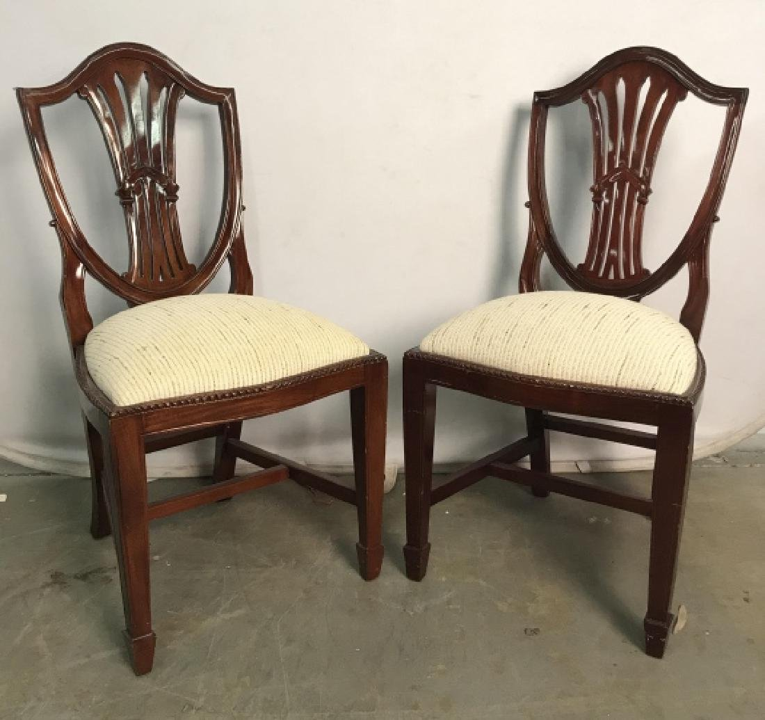 Set 4 Vintage Dining Chairs Hepplewhite Shield - 3