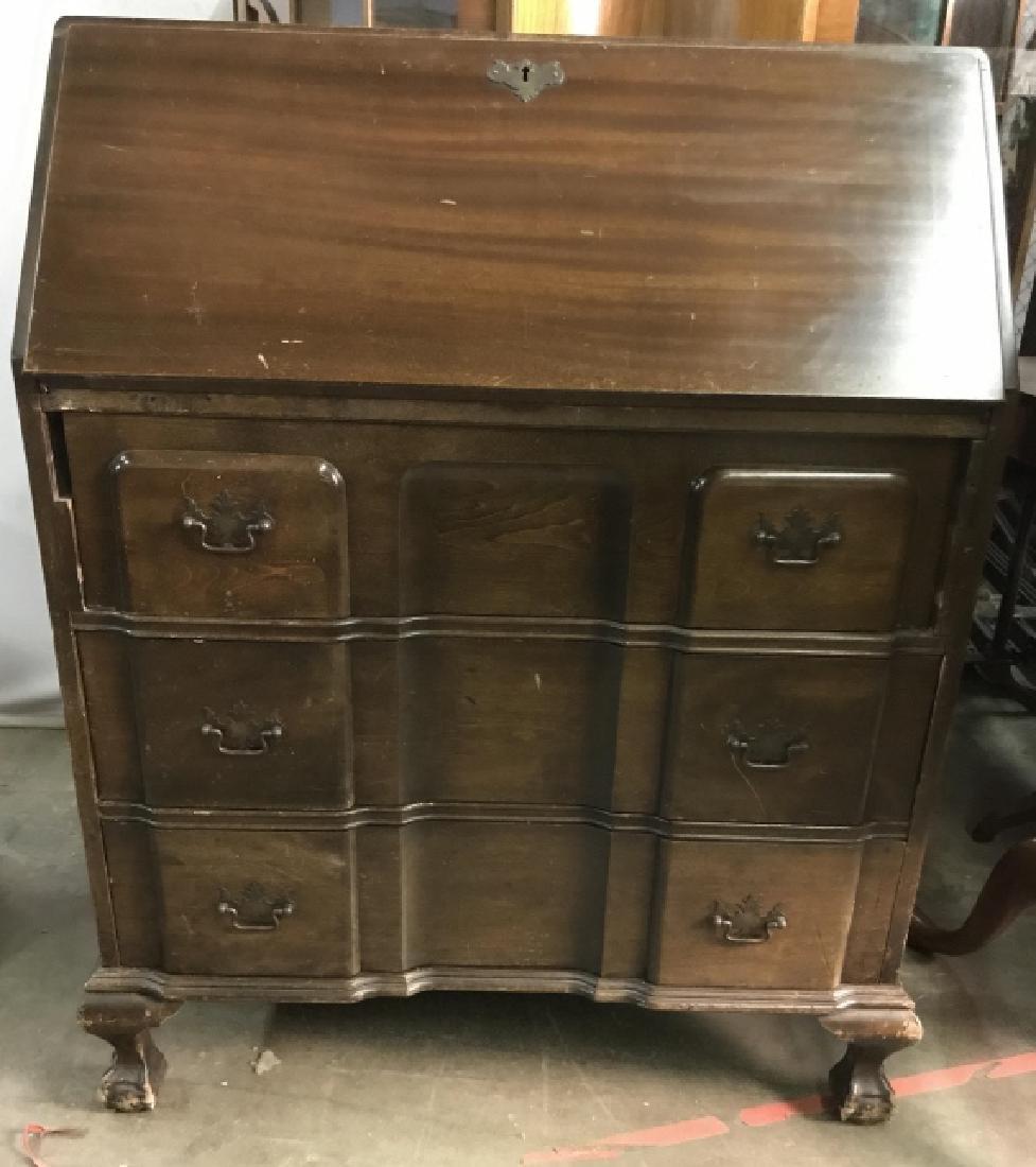 Vintage Carved Wooden Writers Desk