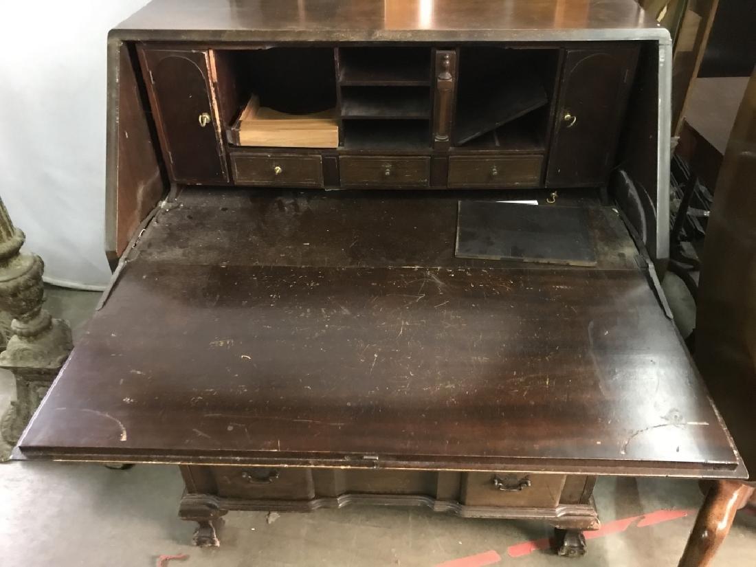 Vintage Carved Wooden Writers Desk - 2