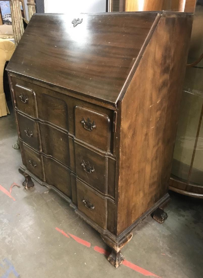 Vintage Carved Wooden Writers Desk - 4