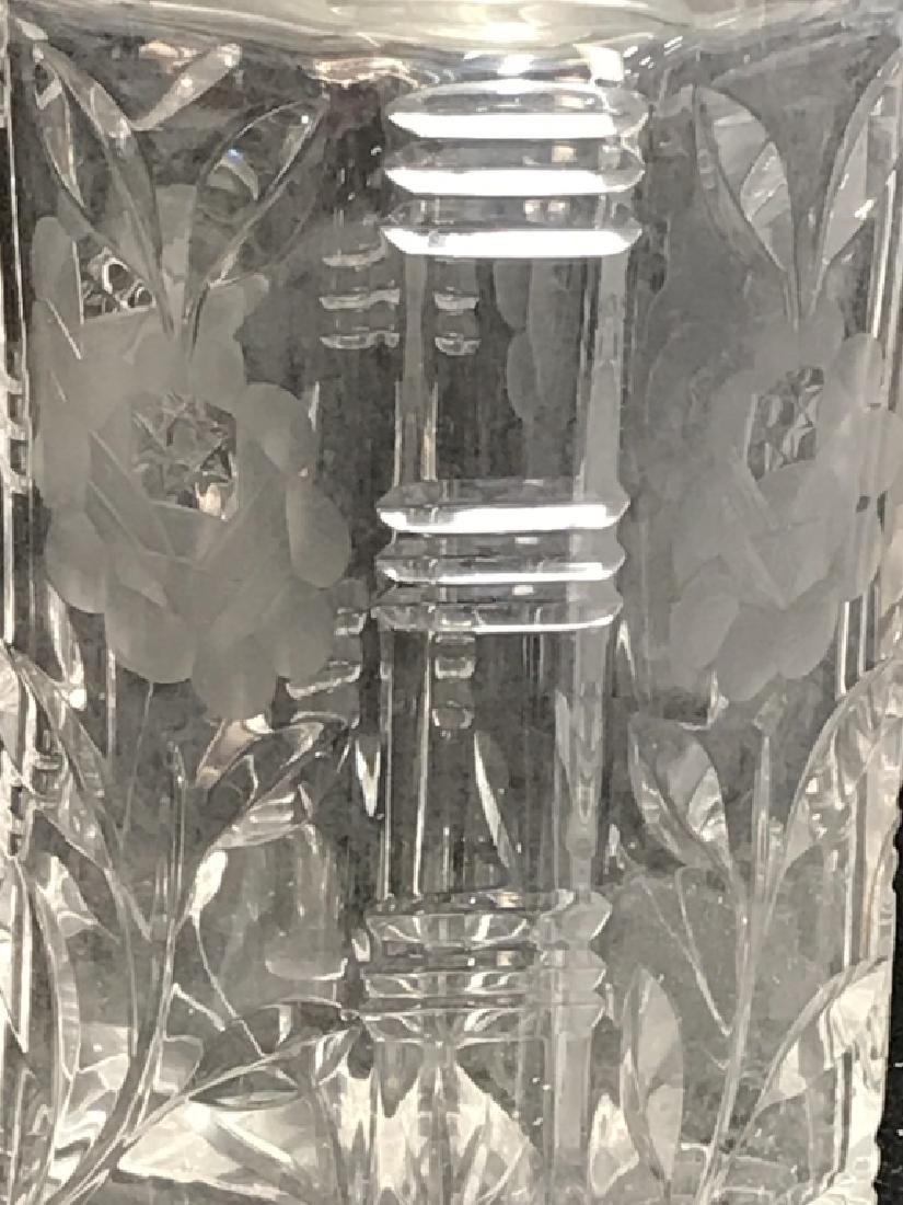 Pair Vintage Etched Cut Glass Decanters - 4