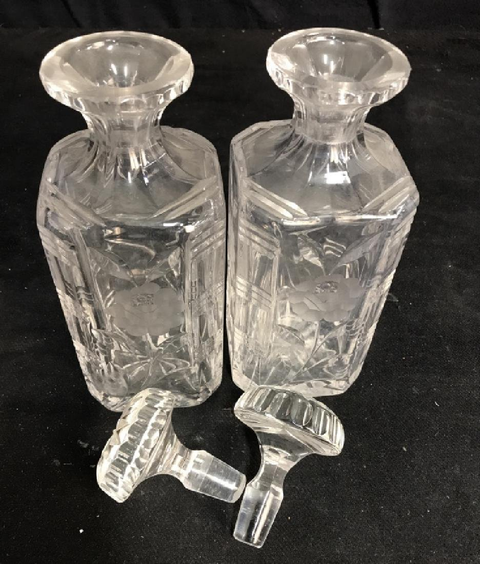 Pair Vintage Etched Cut Glass Decanters - 9