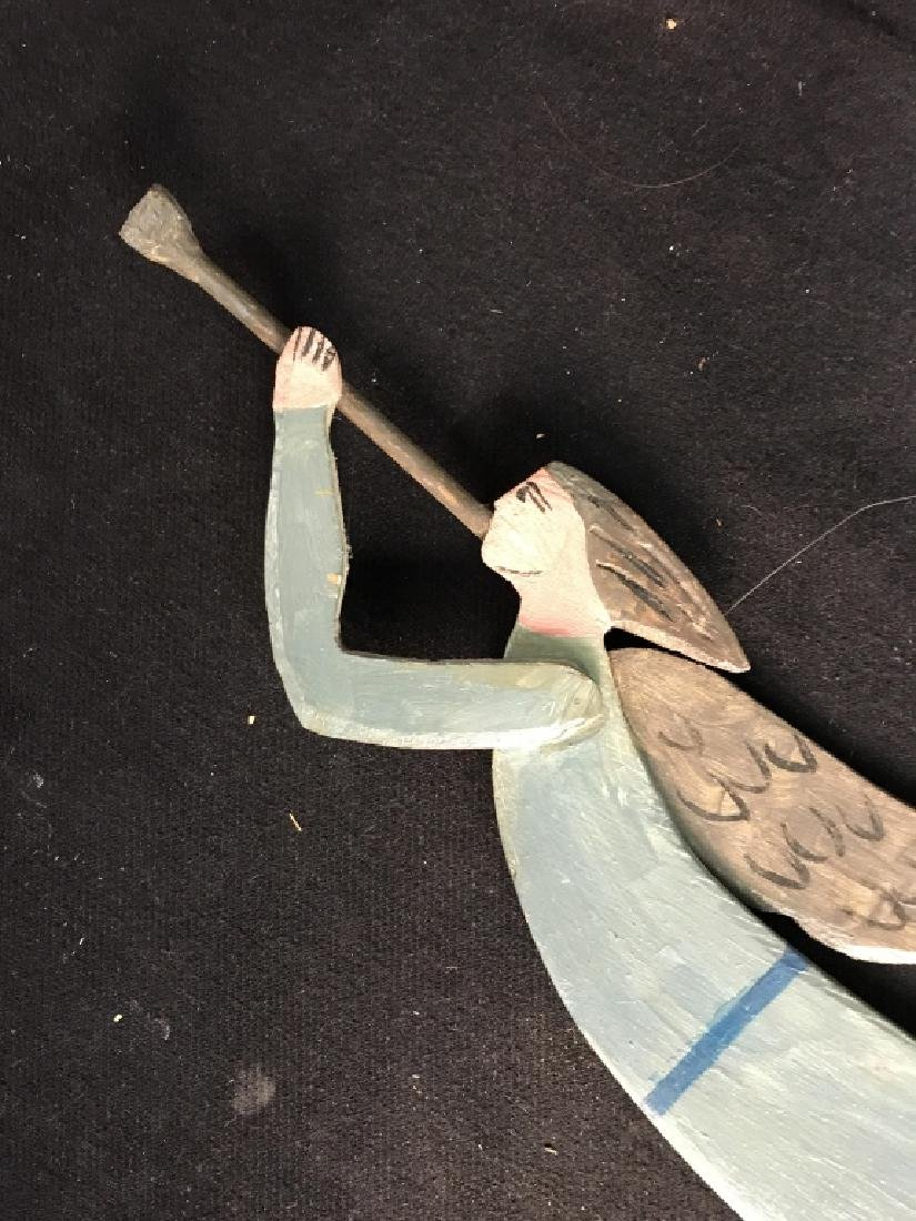 Vintage Carved Wood Folk Art Angel - 4