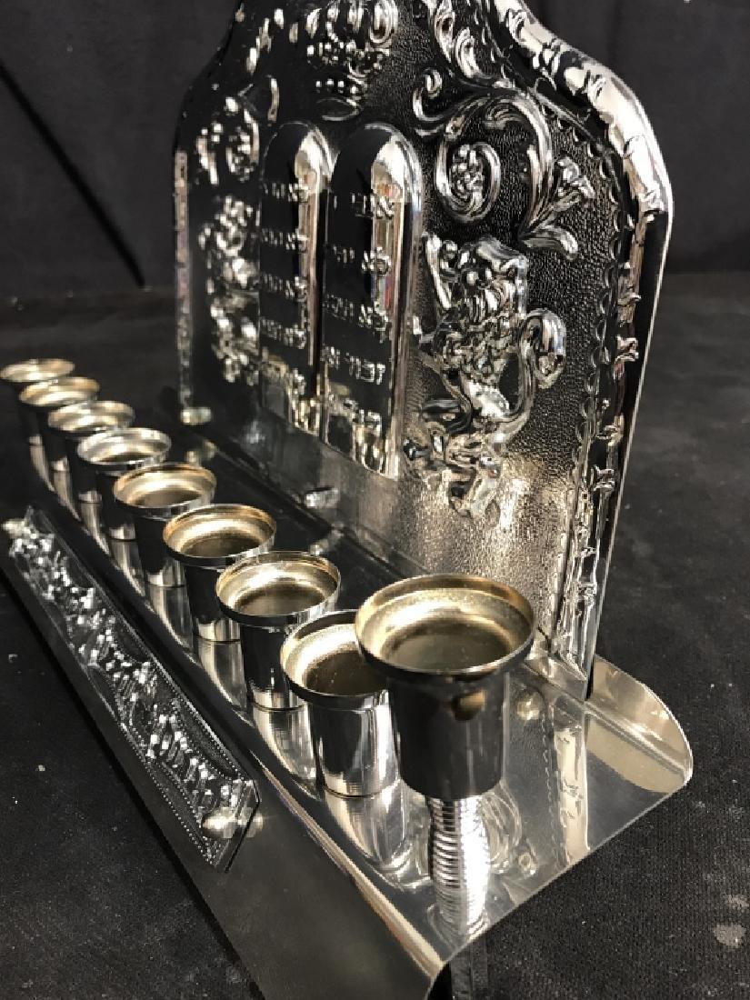 Silver Toned Judaica Menorah - 10