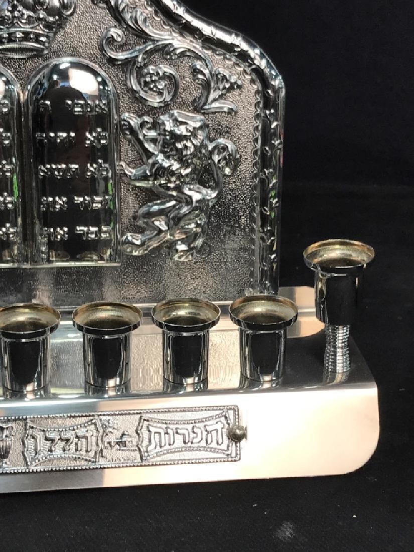 Silver Toned Judaica Menorah - 3