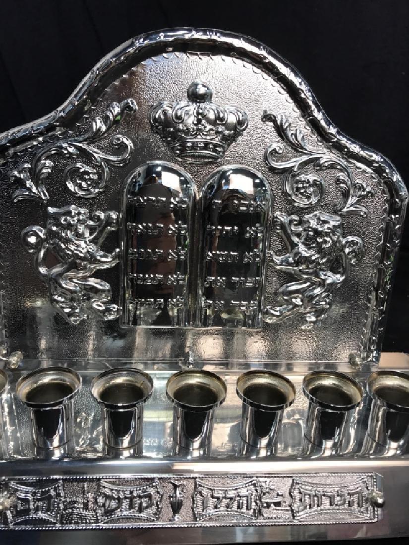 Silver Toned Judaica Menorah - 4