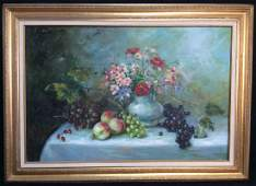 Framed And Signed Original Still Life Oil Painting