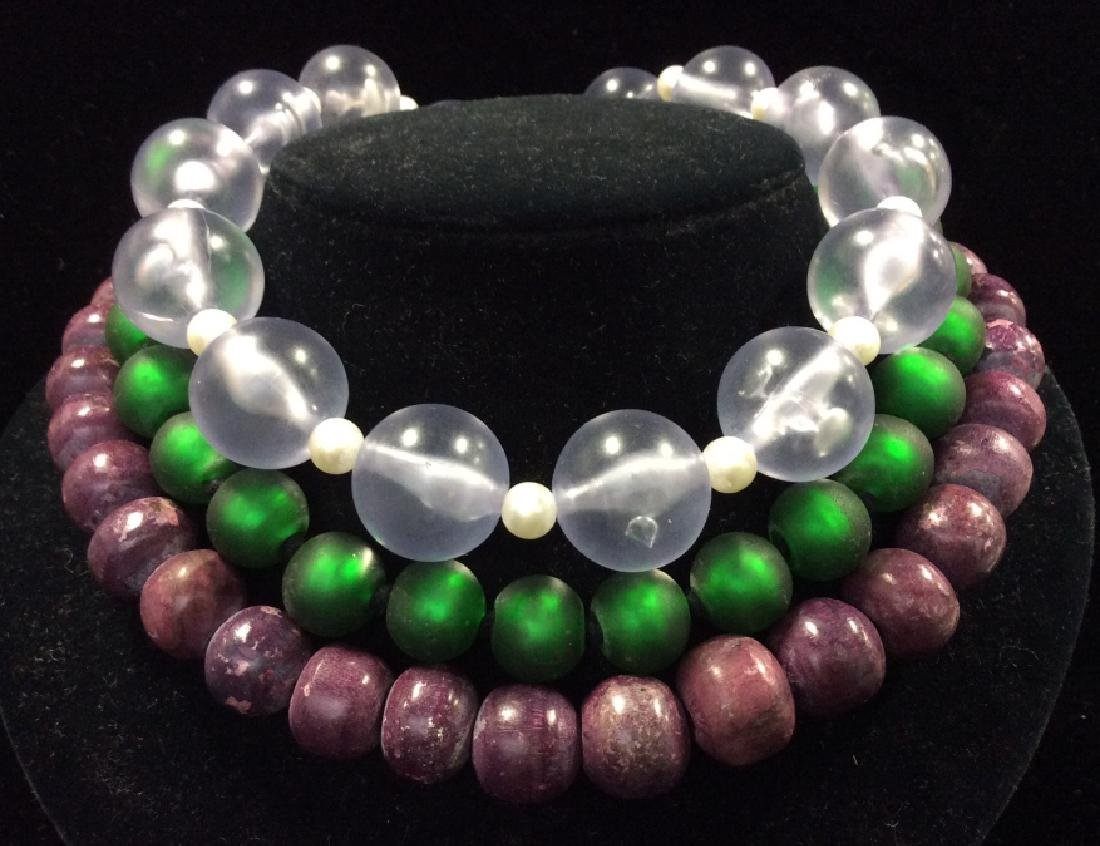 Lot 3 Chunky Beaded Women's Necklaces