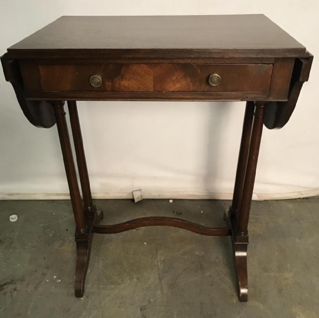 Vintage Wooden Drop Leaf Table W 1 Drawer - 5
