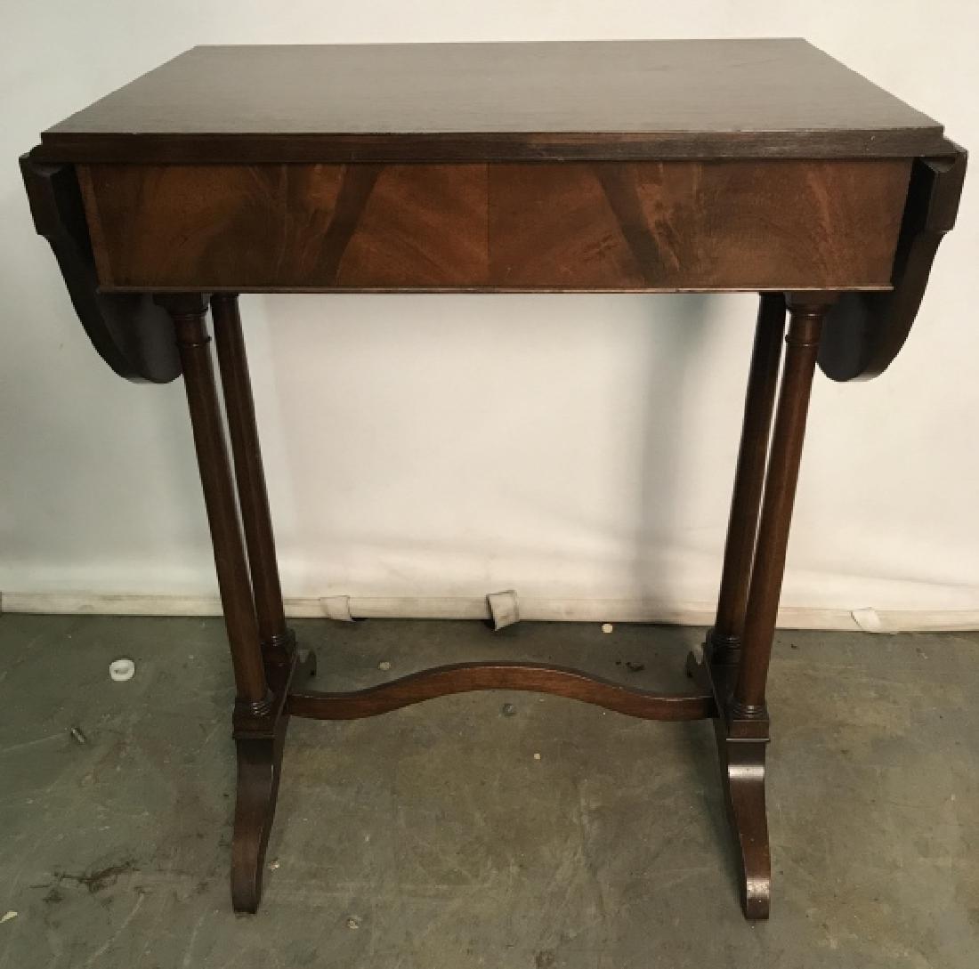 Vintage Wooden Drop Leaf Table W 1 Drawer - 6