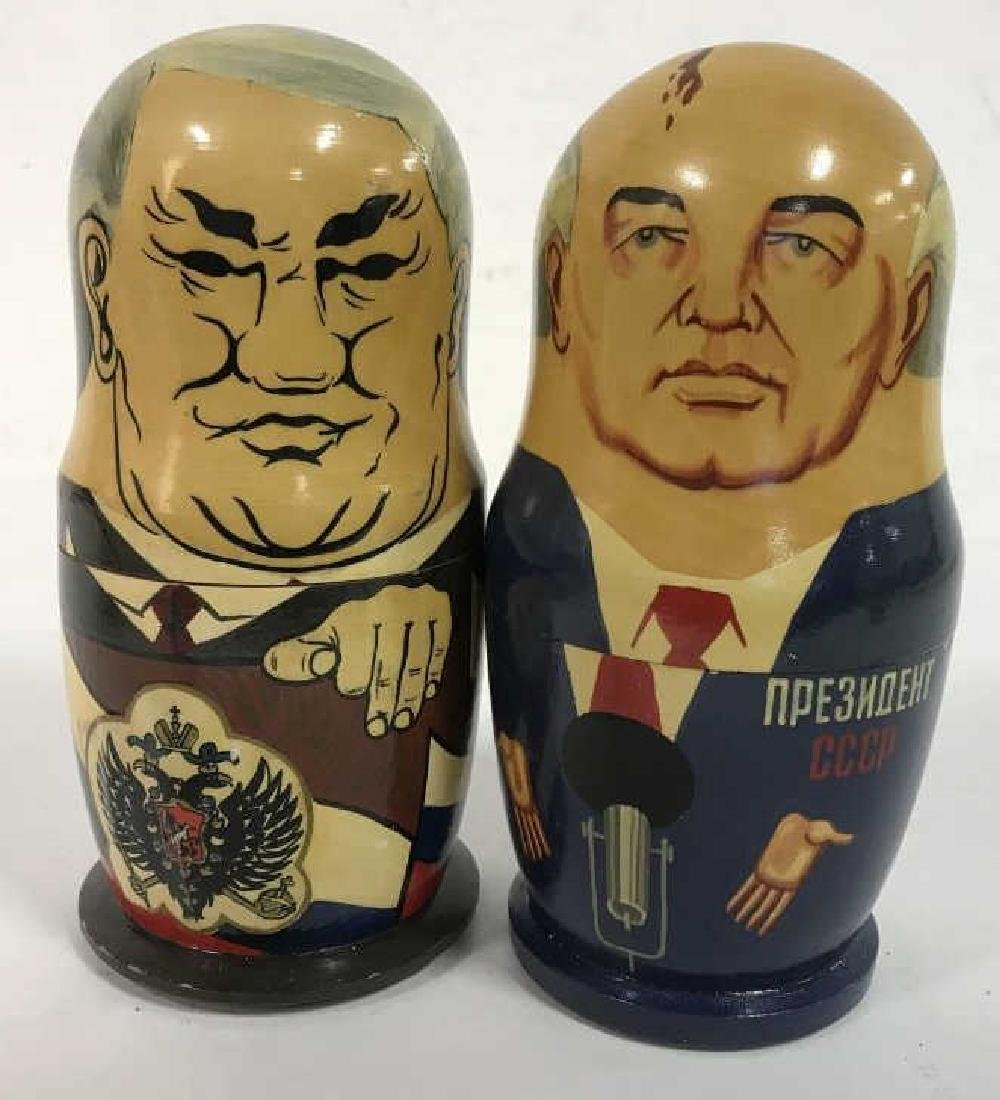 Pair Russian Leaders Wood Nesting Dolls
