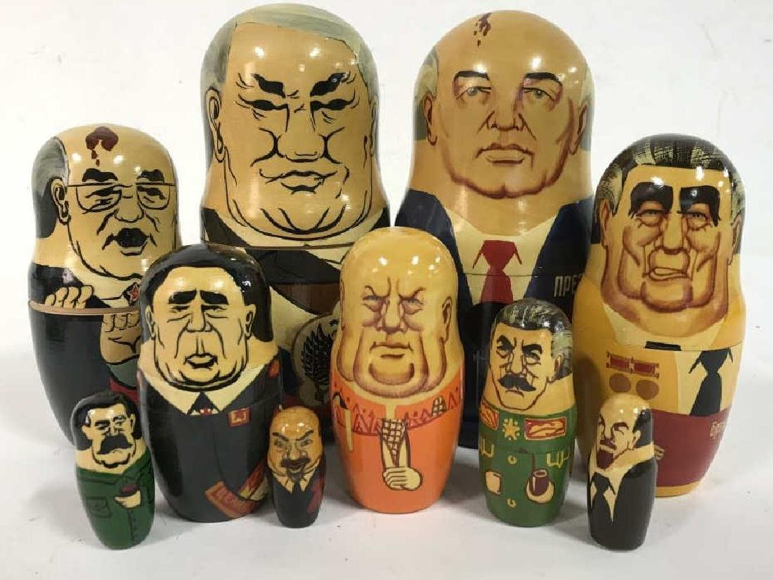 Pair Russian Leaders Wood Nesting Dolls - 2