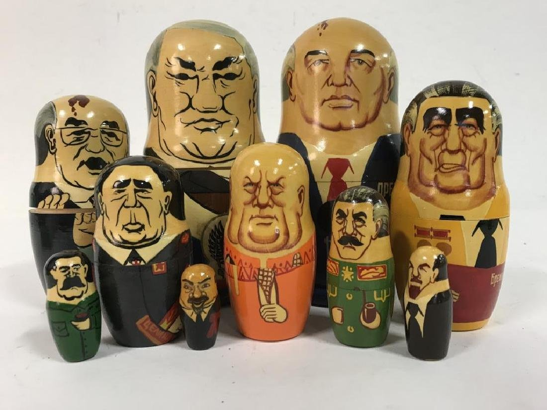 Pair Russian Leaders Wood Nesting Dolls - 3
