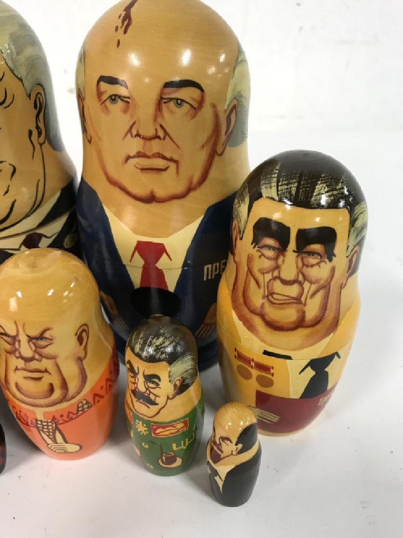 Pair Russian Leaders Wood Nesting Dolls - 4