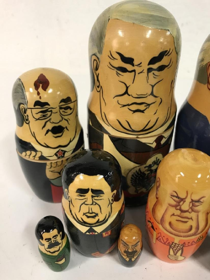 Pair Russian Leaders Wood Nesting Dolls - 5
