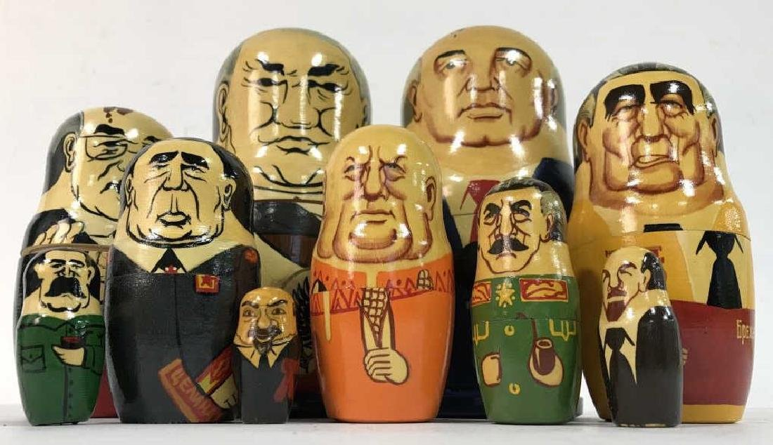 Pair Russian Leaders Wood Nesting Dolls - 6