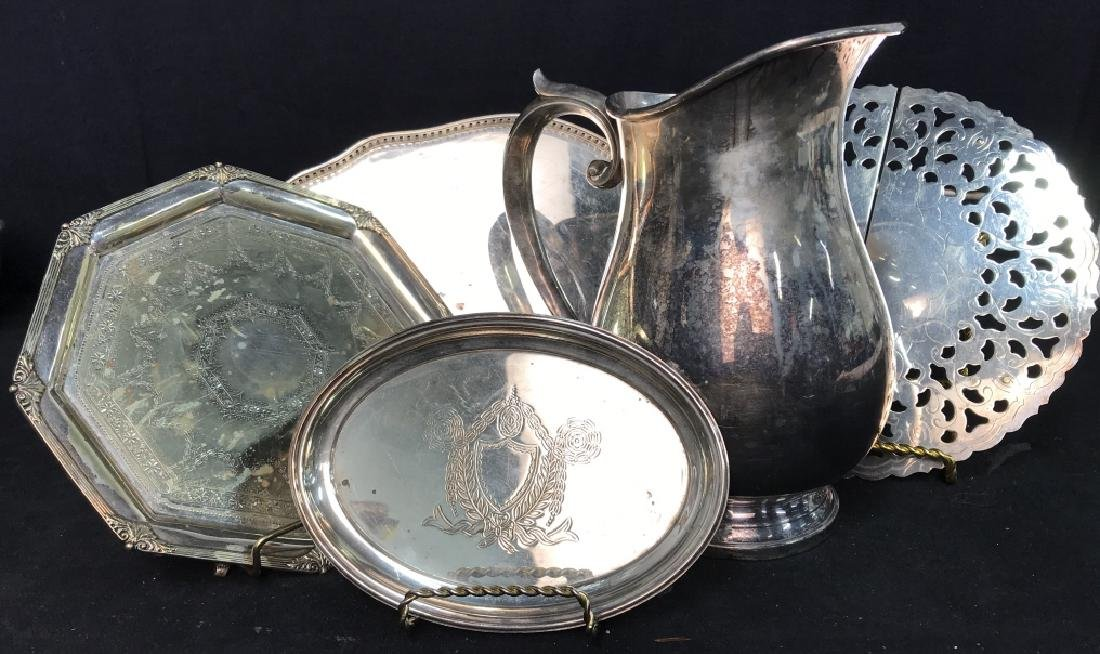 Silver plate Group lot of  Trays and Water Pitcher