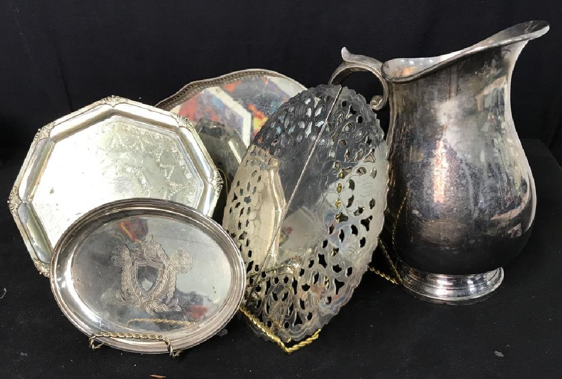 Silver plate Group lot of  Trays and Water Pitcher - 2