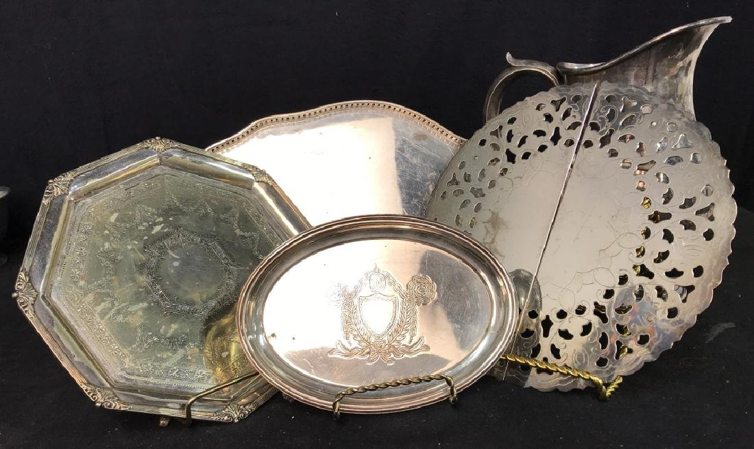 Silver plate Group lot of  Trays and Water Pitcher - 3