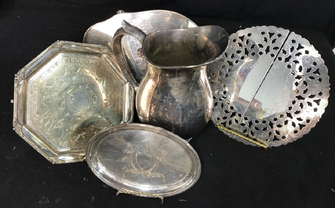 Silver plate Group lot of  Trays and Water Pitcher - 4