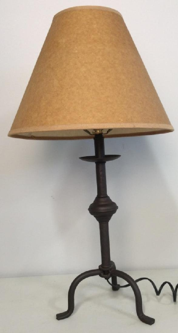 Painted Metal Iron Table Lamp W Shade - 2