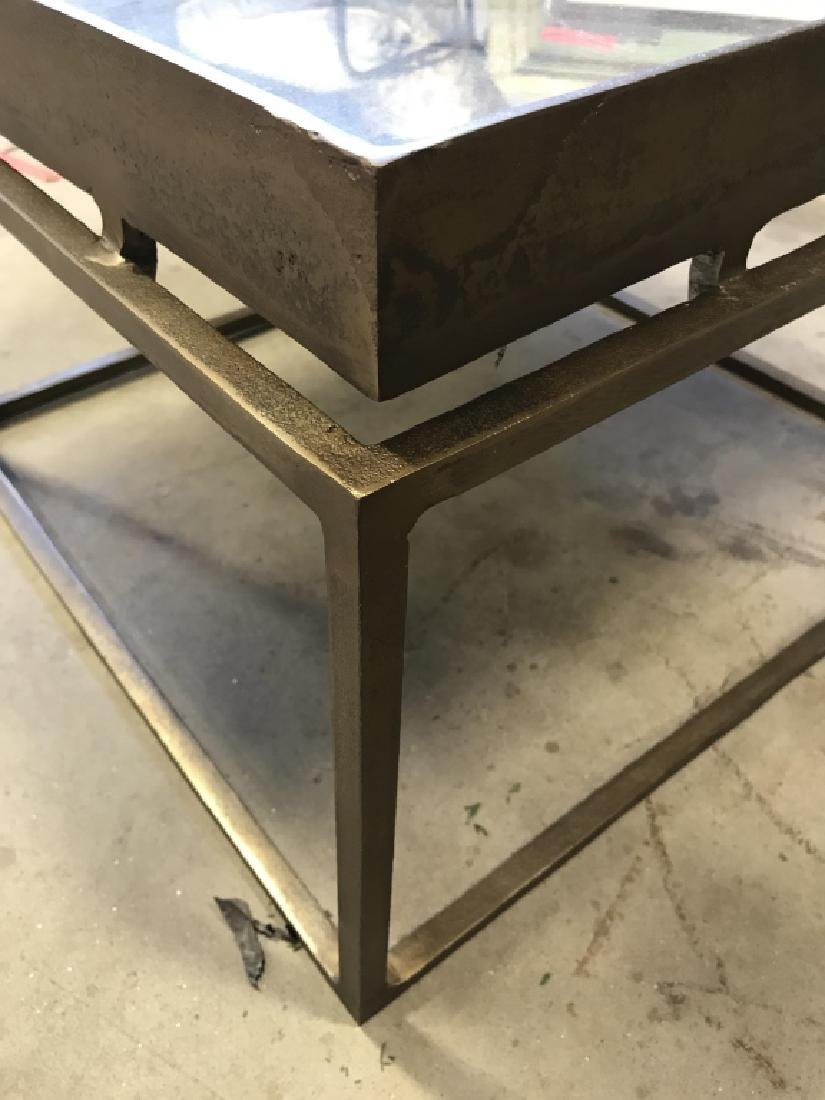 Brass Toned Metal Side Table With Mirrored Top - 3