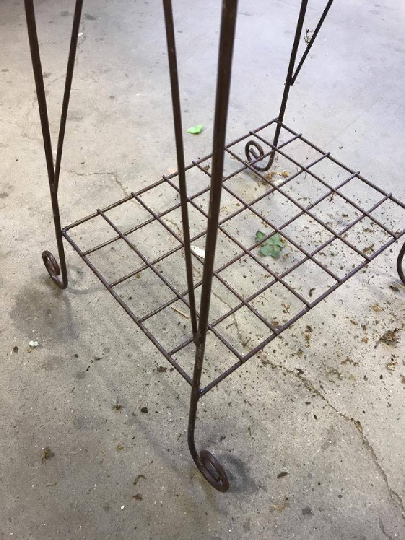 Pair Antique Metal Wire Plant Stands - 10