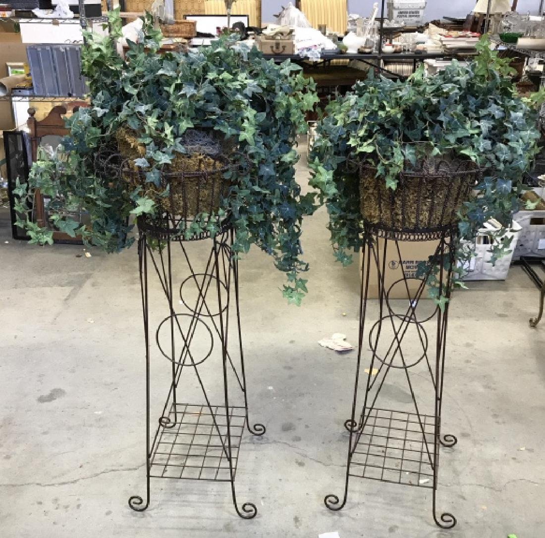 Pair Antique Metal Wire Plant Stands